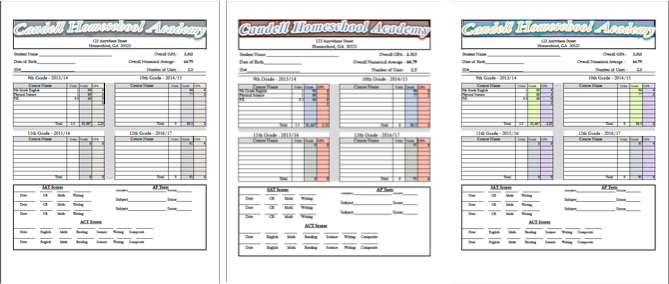 College Transcript Template | Transcript Template For A Homeschool Transcript School Counselor